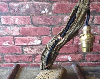 Driftwood and Beach Brick Lamp