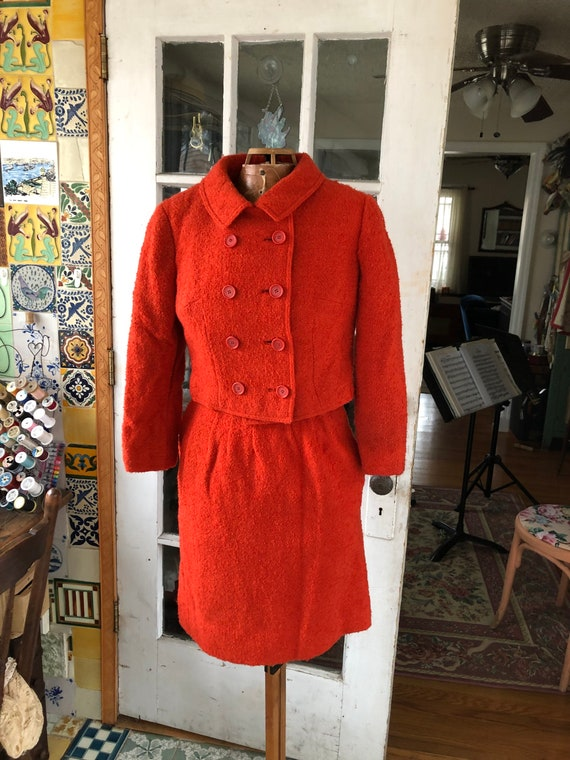 60's tomato red wool bouclé Jackie O style skirt s