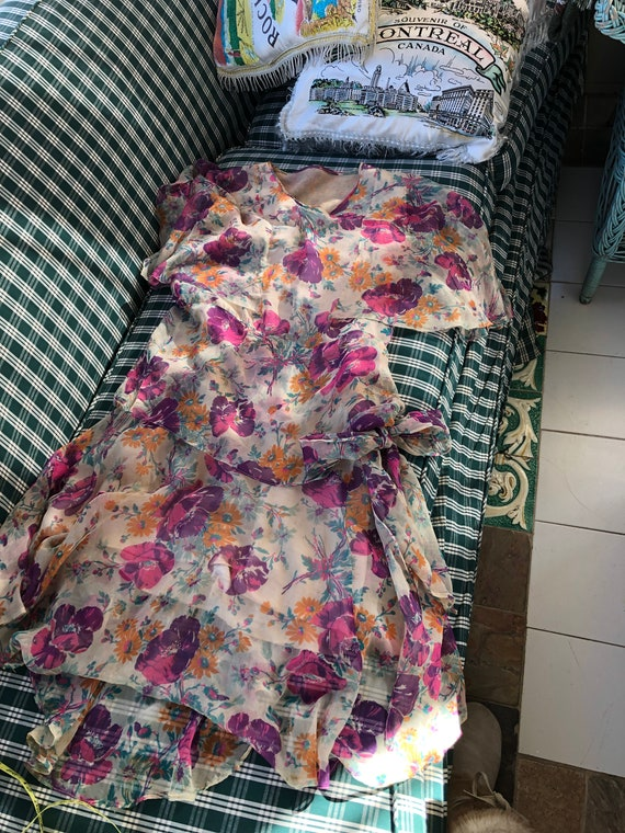 1920's authentic floral silk chiffon flapper dress - image 6