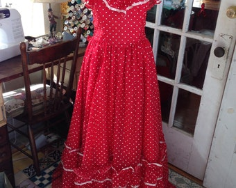 70's red and white polka dot strapless gown, Gunne Sax by Jessica McClintock