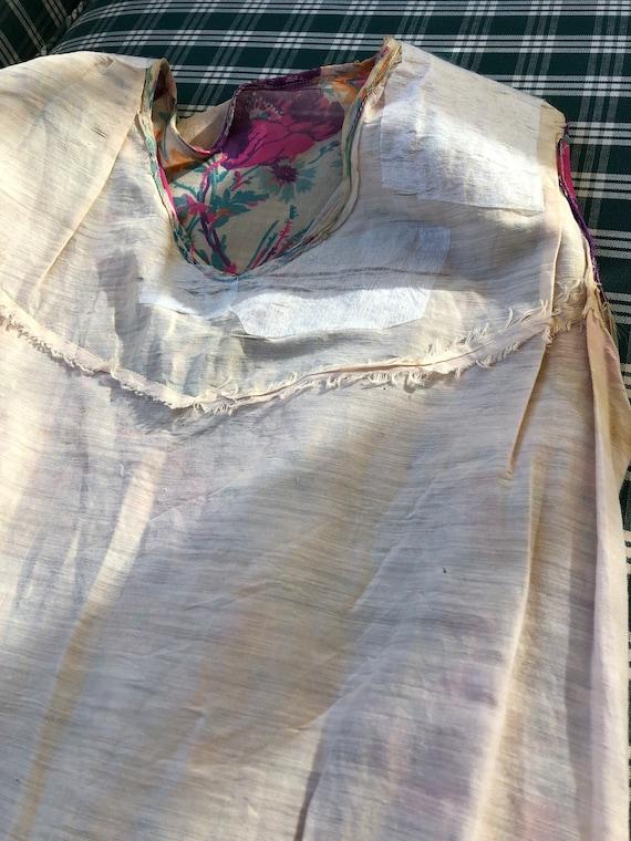 1920's authentic floral silk chiffon flapper dress - image 7