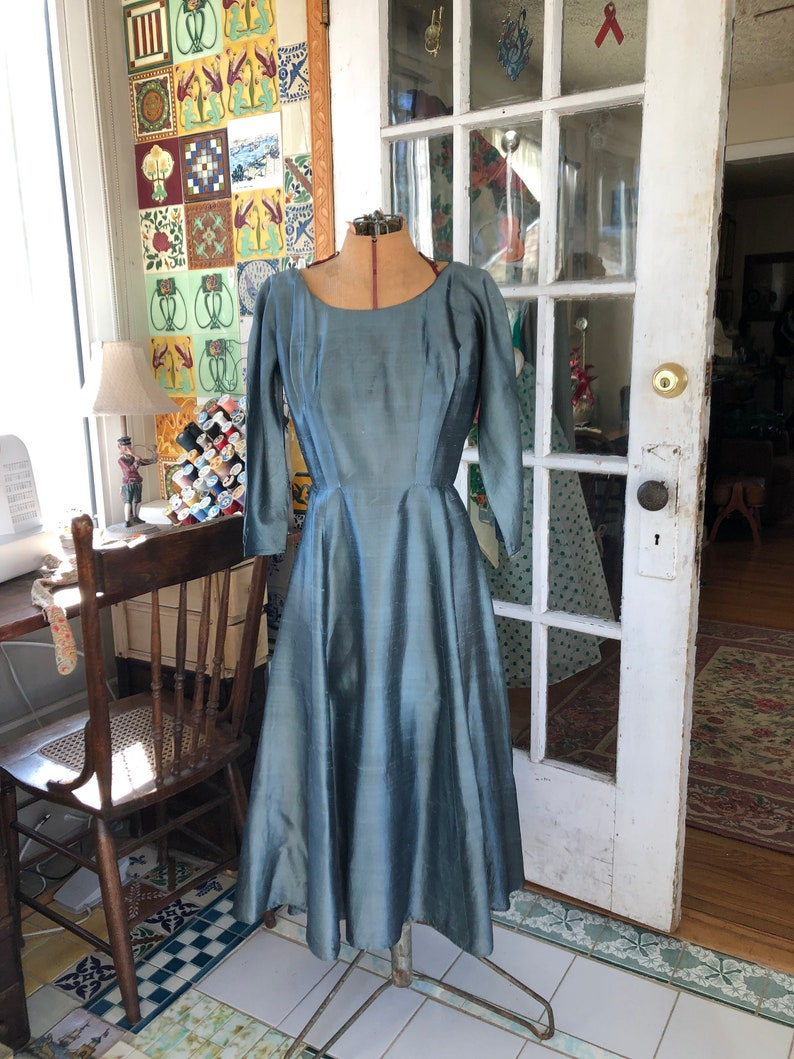 50's steel blue silk fit and flare cocktail dress
