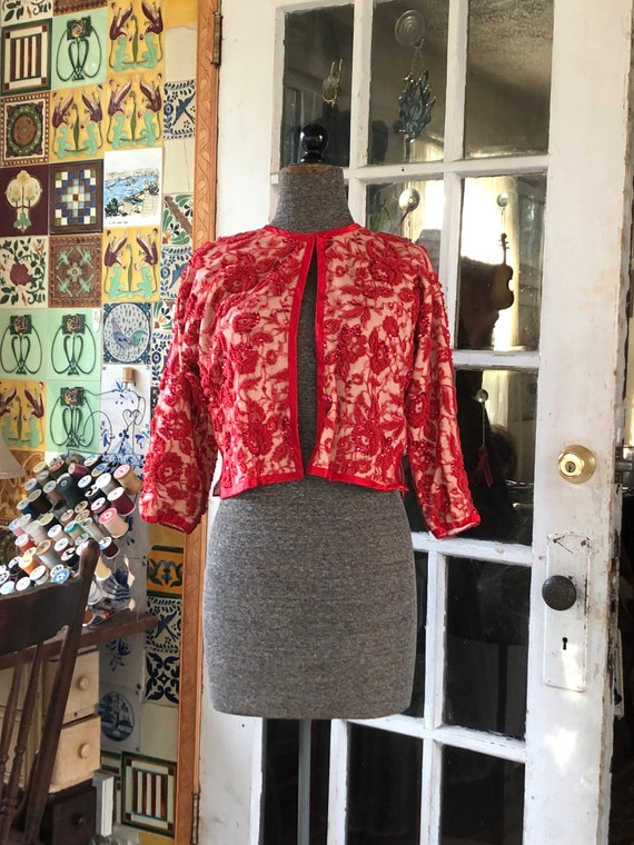 50's red beaded sweater - image 1
