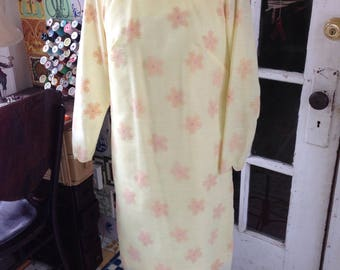 60's flocked yellow cotton blend shift