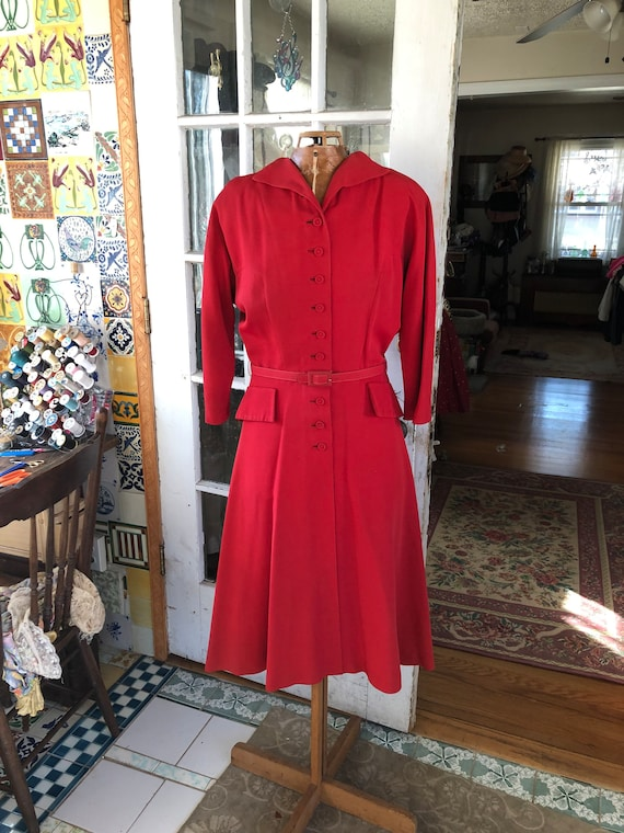 40's red rayon gabardine dress