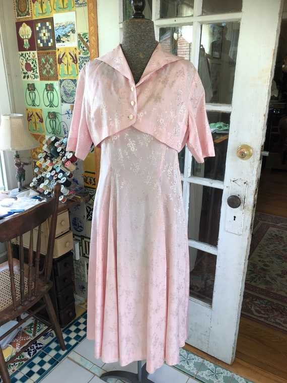 40's Large rayon acetate pink formal cocktail dres