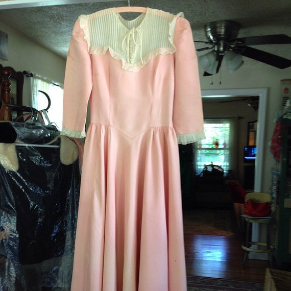 30's peach rayon blend wedding gown, hat and veil