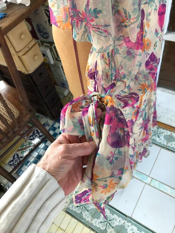 1920's authentic floral silk chiffon flapper dress - image 10
