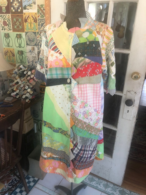 60's crazy quilt duster