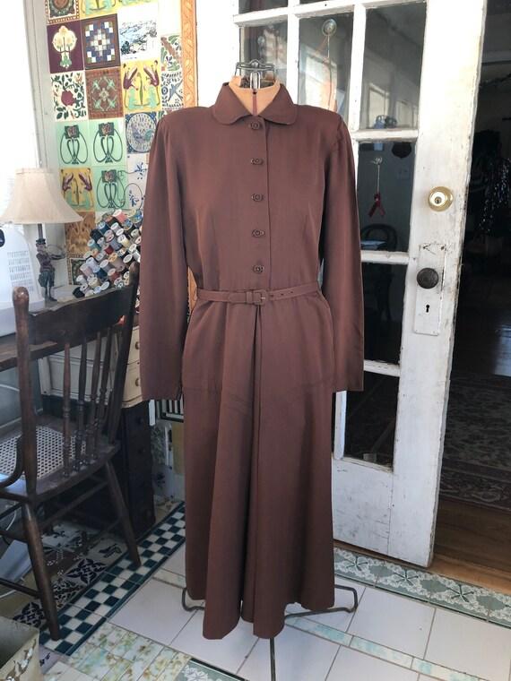 40's brown rayon gabardine long sleeve dress
