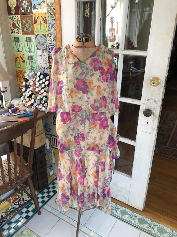 1920's authentic floral silk chiffon flapper dress