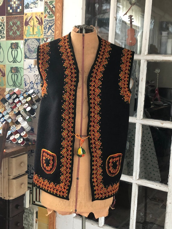 Ukrainian or Romanian black embroidered wool folk