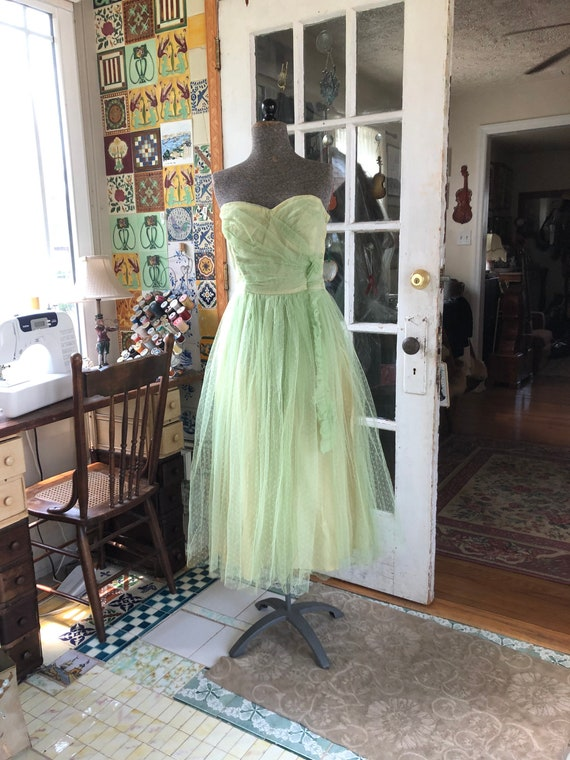 50's green strapless fit and flare taffeta and tul