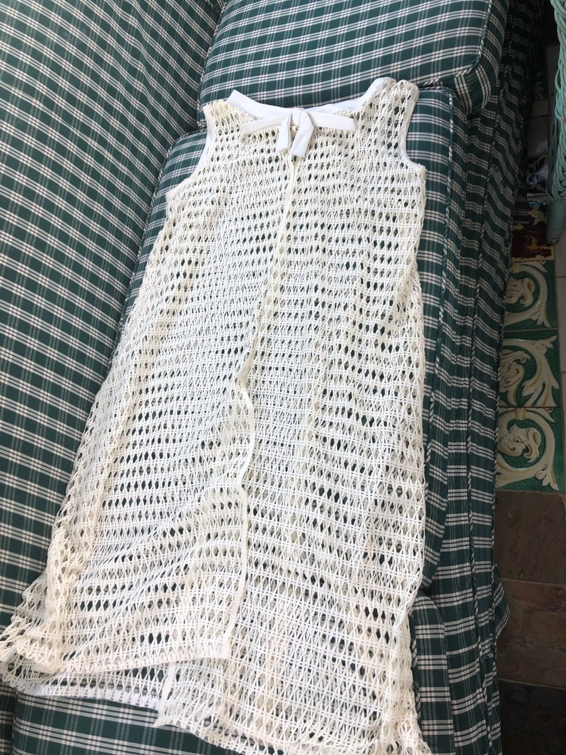 60/'s white linen shift and crocheted cover up