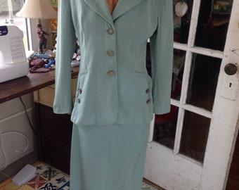 40's rayon gabardine skirt suit