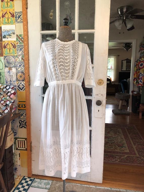 Edwardian midi length lawn dress