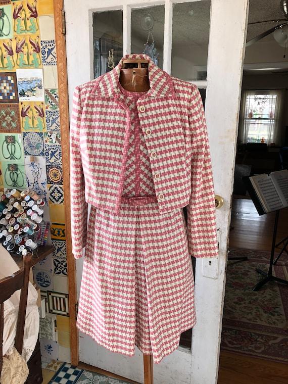 60's pink plaid woven cotton dress suit