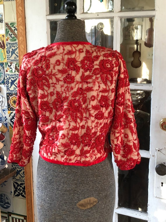 50's red beaded sweater - image 3