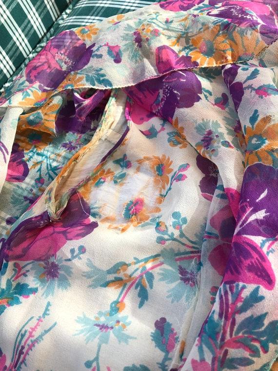 1920's authentic floral silk chiffon flapper dress - image 4