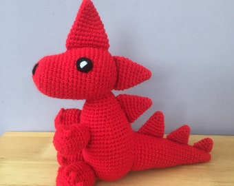 Welsh dragon.  Handmade dragon toy, crochet toy, toddler toy