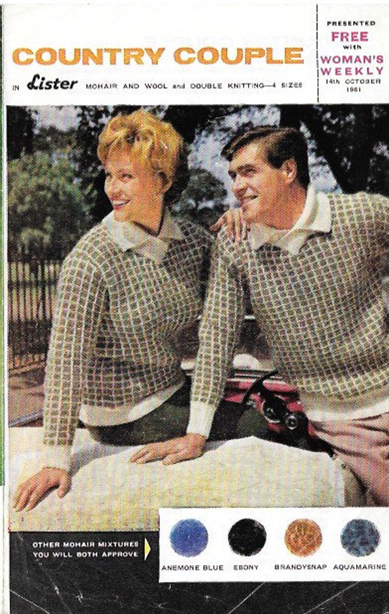 c984cb899 1960s Vintage Knitting Pattern Couples Mens Womens