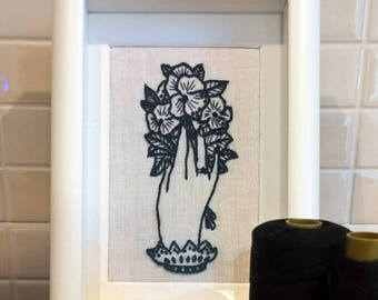 Old school tattoo Hand embroidered with Flowers Embroidery to hang out with Flowers