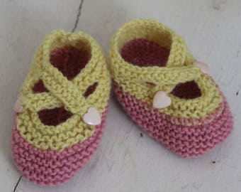 Cupcake Baby Booties / Pink & Yellow Booties / Heart Buttons