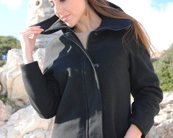 03024306e23 Black asymmetric high collar Black Bat Coat - Classic