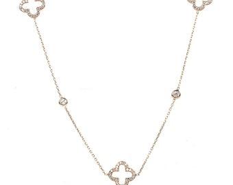 b22250a47af Latelita argent Sterling Rose Or Long ouvert alhambra trèfle collier CZ 90cm