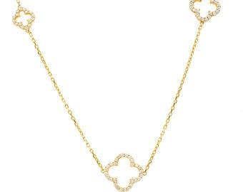 f3edd2f70 Long Open Clover VC Necklace 925 Sterling Silver Gold CZ Chain Gemstone  Quartz