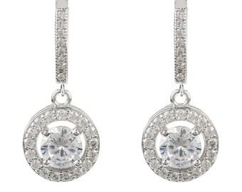 Silver CZ Drop Circle Earring silver