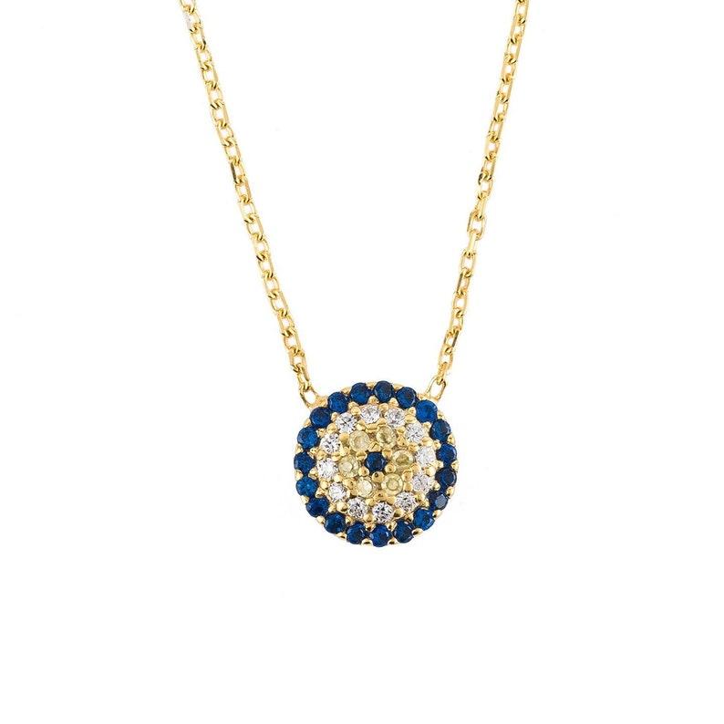 Latelita Evil Eye Pendant Necklace 925 Sterling Silver Rose Gold Blue Hamsa CZ