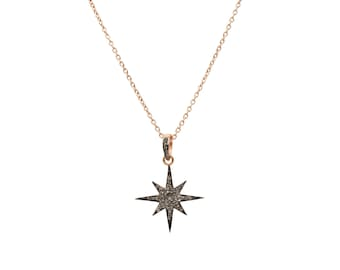 Diamond Star Burst Necklace Rosegold