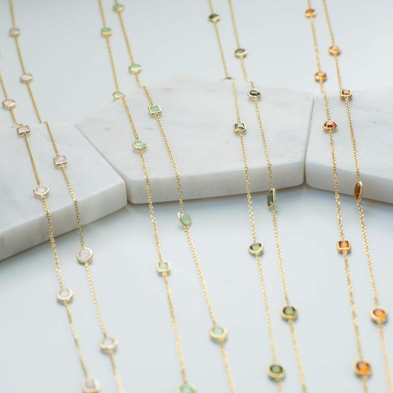 Latelita Long Chain Gemstone Necklace Gold Light Blue Topaz 120cm Delicate 925
