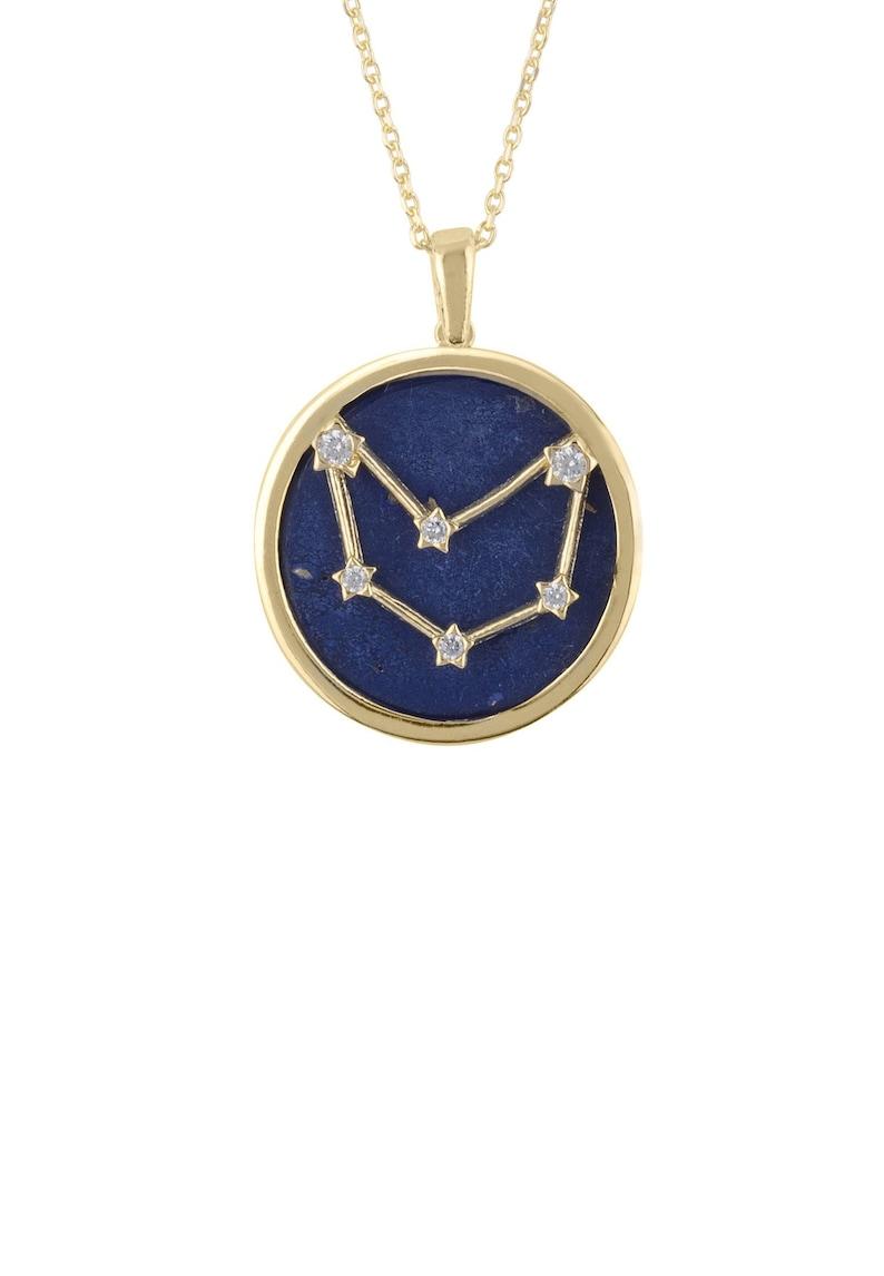 Zodiac Lapis Lazuli Gemstone Star Pendant Necklace Gold Capricorn
