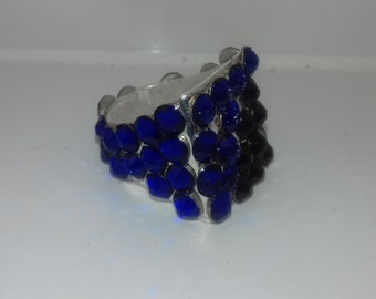 Silver Plated Blue and Black ring with Swarvoski Crystals
