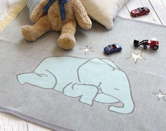 Elephant Nursery Rug, Nursery Decor, Children's / Kid's Nursery Play Mat Rug, Machine Washable, Elephant Design, Grey Blue