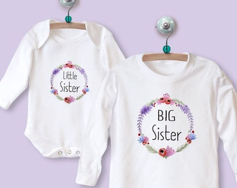 Big Sister Little Sister Matching Outfit - Babygrow & Top with Floral Wreath LONG SLEEVE