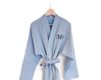 3b8fa5912b Personalised Dark Blue Waffle Dressing Gown
