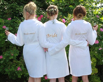 White Jersey Bridesmaid Robes, Personalised Bride Dressing Gowns, Bridesmaids Dressing Gowns, Wedding Robes, Mother of the Bride, Any Text
