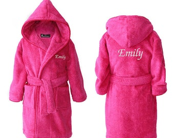 5dfbd3e49 Personalised Girls Dressing Gowns, Personalized Kids Robes, Teens Bathrobes,  Personalised Bathrobe for Girl, Hot Pink, 2-15 years