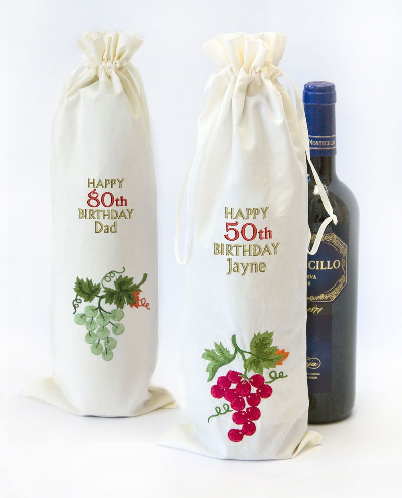 Personalised 30th 50th 80th Birthday Wine Champagne Spirit Bottle Gift Bag Embroidered With Name Number