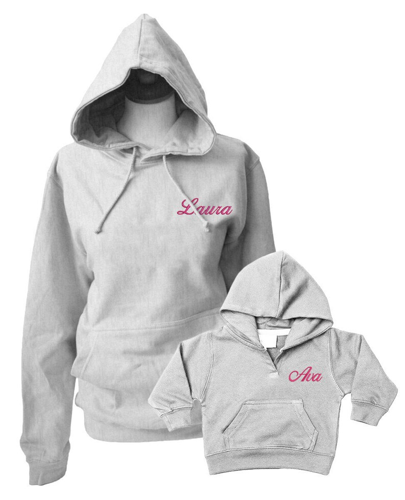 43fd25c527c06 Personalised Adult and Baby Grey Hoodies for Mother and Daughter, Matching  Gift Set Outfits, Mother's Day Gift