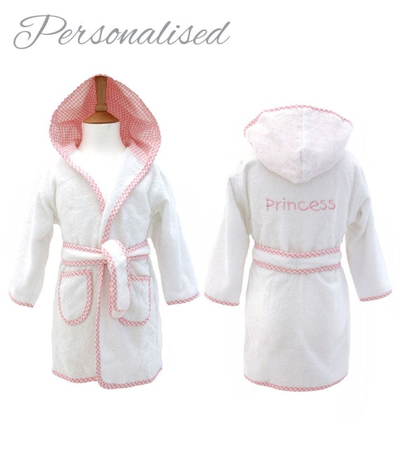 Personalised Childrens Towelling Dressing Gown With Hood Etsy
