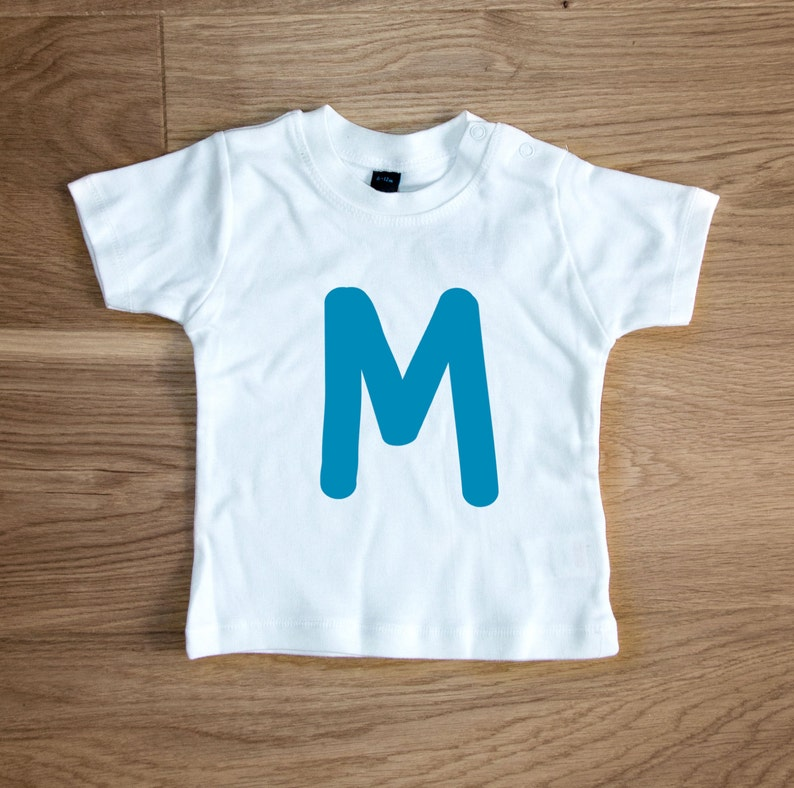 7c54b3e97c21 Personalised Baby   Kids Cotton T-shirt with BIG Blue or Pink