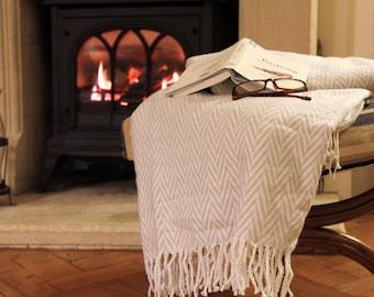 Personalised Anniversary Herringbone Cotton Blanket Throw, Golden 50th Anniversary / 2nd Anniversary / Wedding gift /Nan's Christmas Present