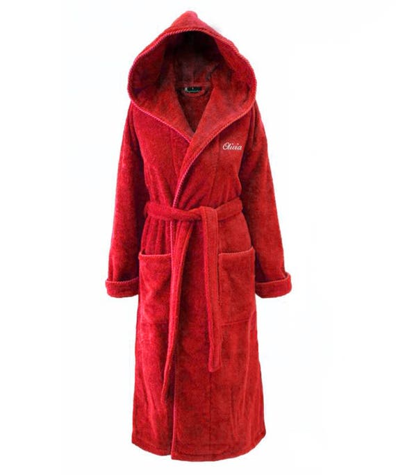 Personalised Red Towelling Dressing Gown with Hood   Etsy