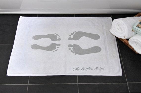 Cadeau de mariage personnalis tapis de bain en coton 2 me etsy - Tapis personnalise mariage ...