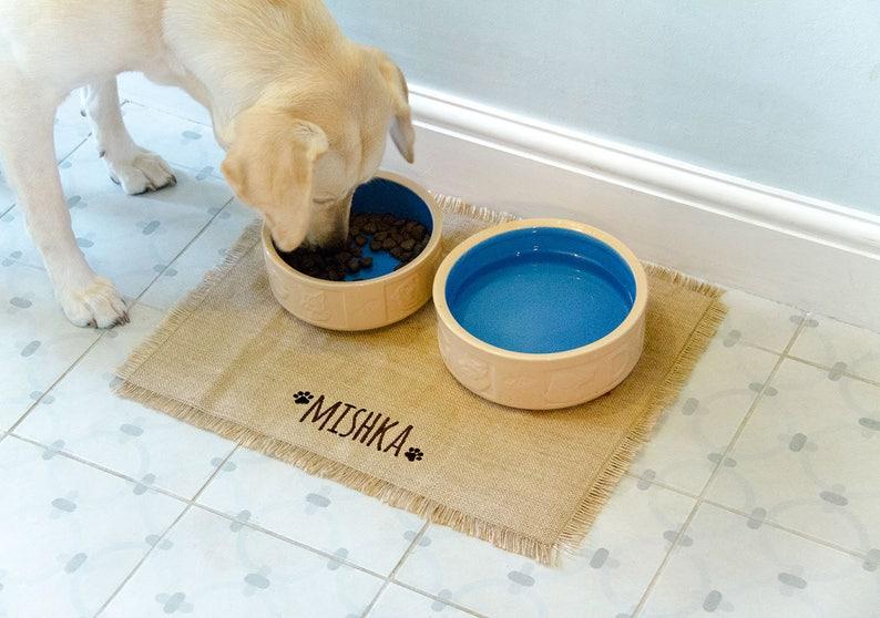 Personalised Dog Feeding Mat with EMBROIDERED name Dog image 0