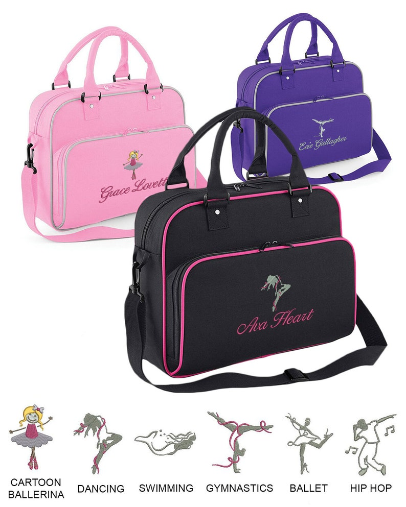 bbc6264ff Personalised JUNIOR Sport Holdall, Embroidered, Choose your name and from 6  logos (Ballet, Dancing, Swimming, Gymnastics, etc)